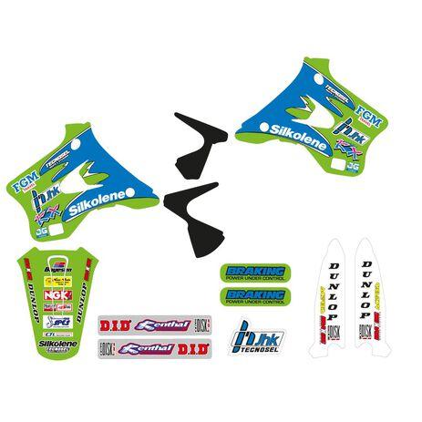 _Kit Adesivi + Copertina Sella Tecnosel Replica Team Kawasaki 1996 KX 125/250 94-98 | 84V01 | Greenland MX_