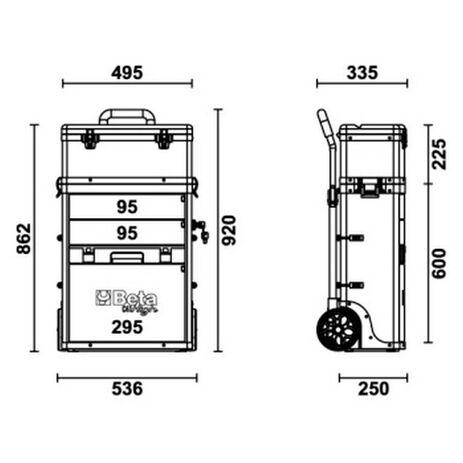 _Trolley Portautensili a 2 Moduli Sovrapponibili Beta Tools | C41H-G-P | Greenland MX_