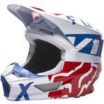 _Casco Fox V1 Skew Bianco/Rosso/Blu | 27999-574 | Greenland MX_