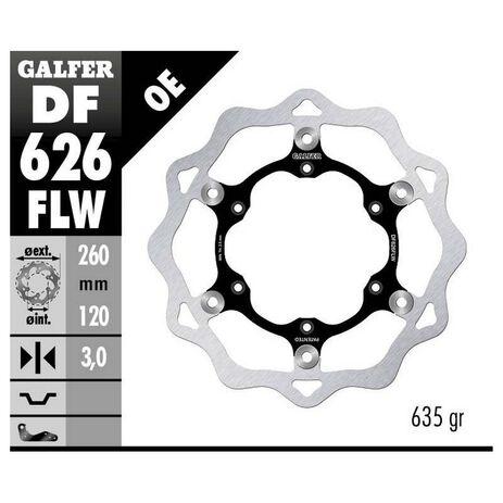 _Disco Freno Anteriore a Forma di Fiore Flottante Galfer Husqvarna CR 125 93-99 Husaberg FC 501 95-99 260x3mm   DF626FLW   Greenland MX_