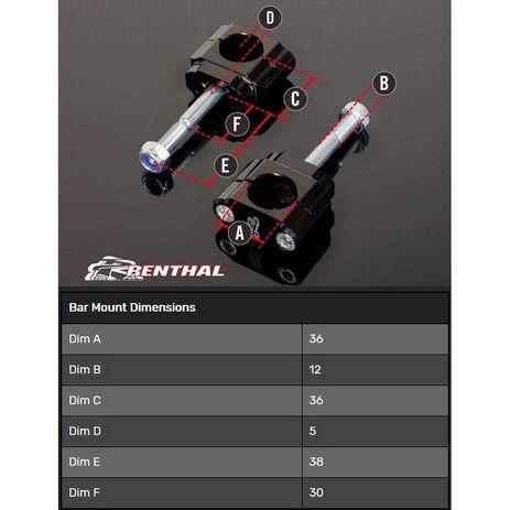 _Supporto Manubrio Renthal 36 mm Yamaha YZ/WR 10-13 F YZ 17-20 Kawasaki KX 09-17 F | CL059 | Greenland MX_